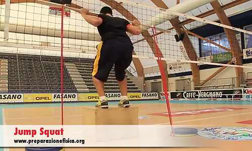 Volleyball exercise: Jump squat with elastic strength