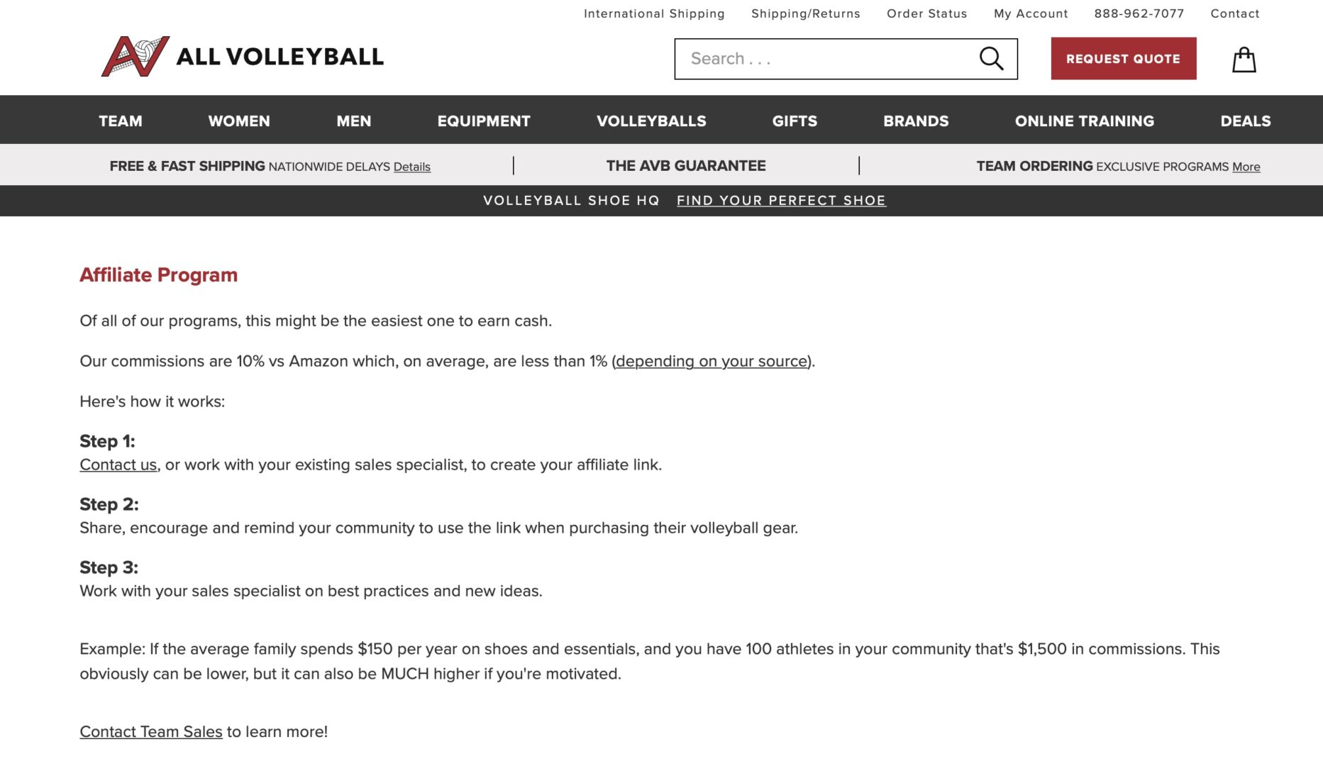 all volleyball affiliate program